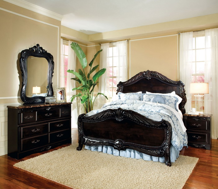 bedroom furniture black wood photo - 2
