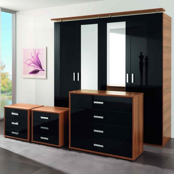 Bedroom furniture high gloss black Interior Exterior Doors