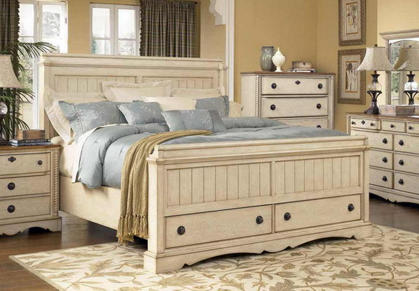 bedroom furniture white distressed photo - 2