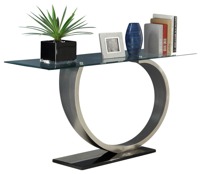 black and chrome sofa table photo - 2