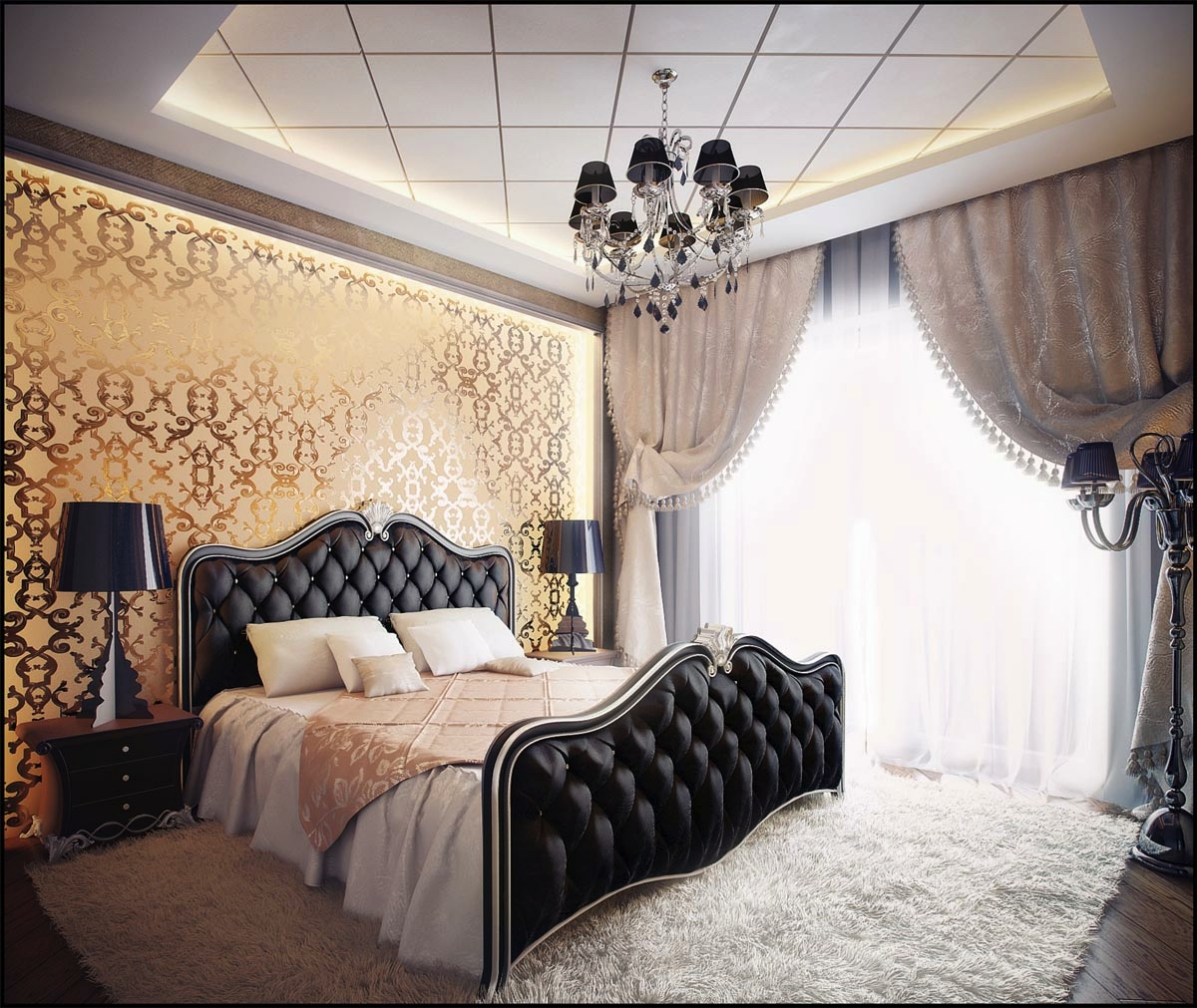 black and gold bedroom design photo - 1