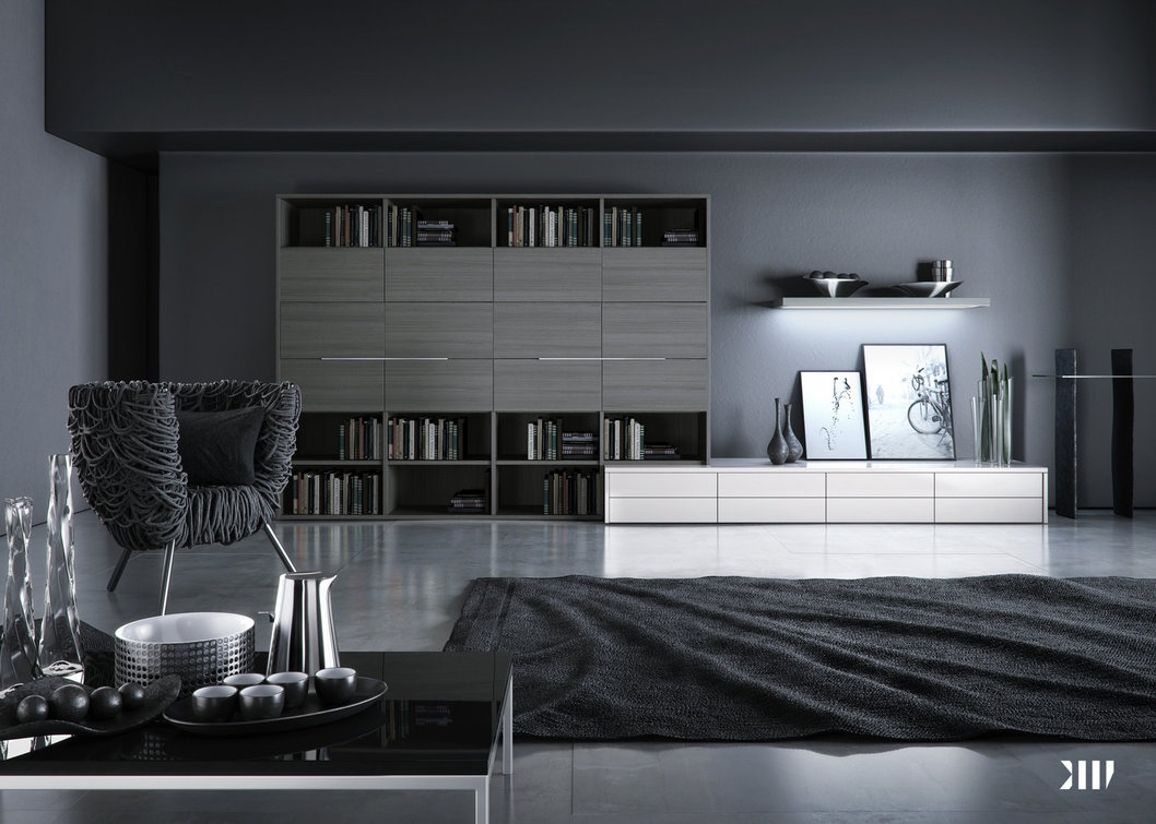 black and gray bedroom design photo - 2