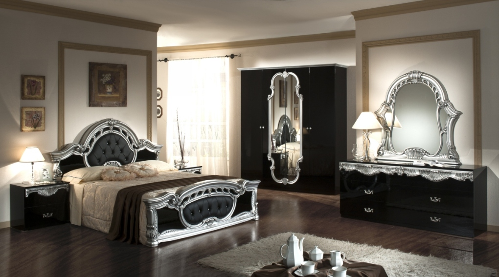 black and silver bedroom sets photo - 1