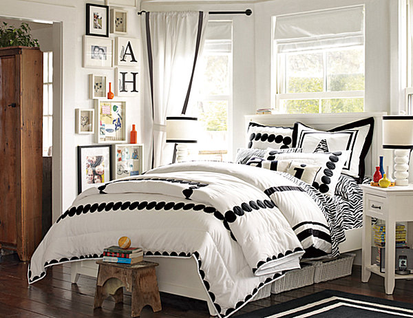 black and white bedroom designs for girls photo - 1