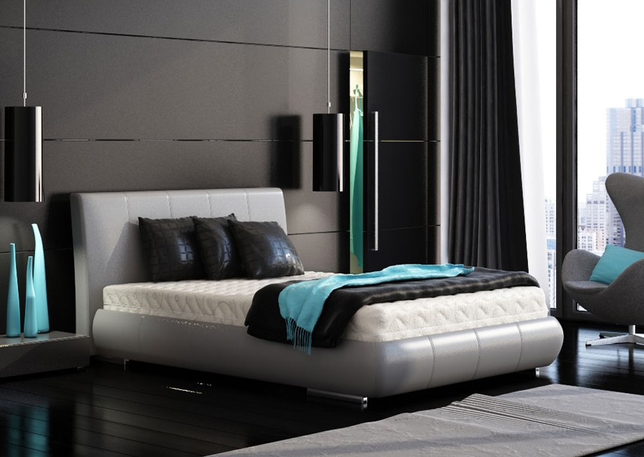 black and white bedrooms with blue accents photo - 2
