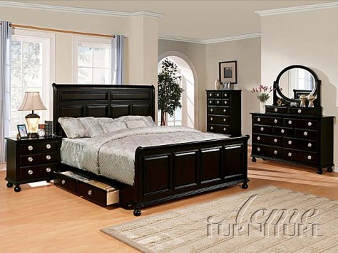 black bedroom furniture sets king photo - 3