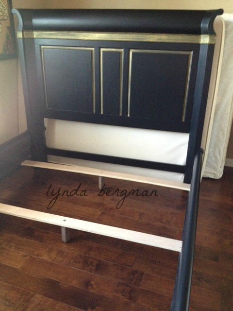 black bedroom furniture with gold trim photo - 2