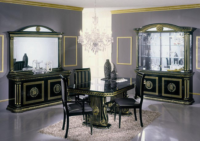 black bedroom furniture with gold trim photo - 5