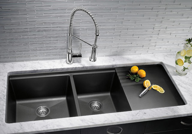 black composite granite kitchen sink photo - 1