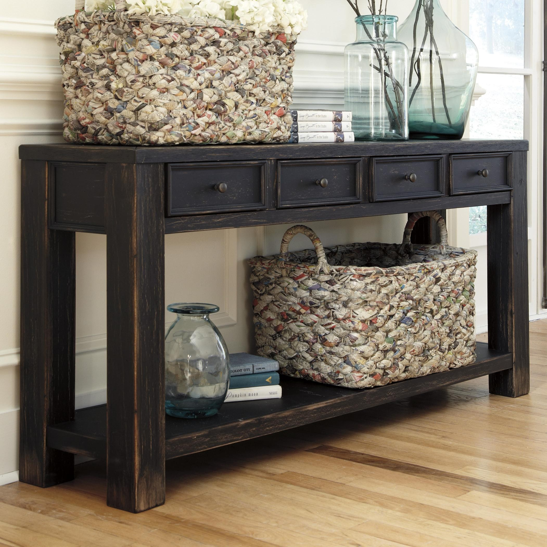 black distressed sofa table photo - 1