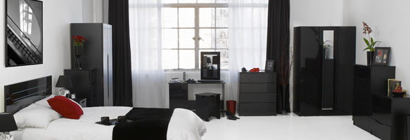 black gloss mirrored bedroom furniture photo - 4