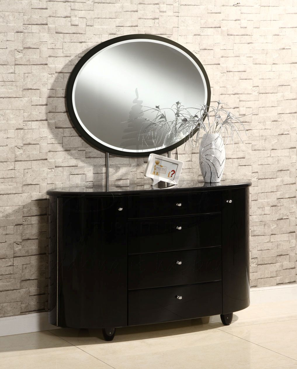 black gloss mirrored bedroom furniture photo - 5
