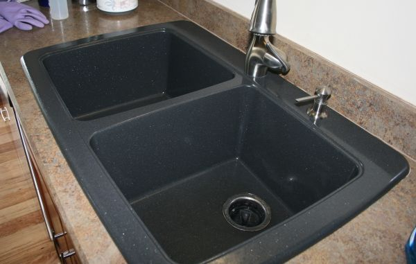 black granite composite sink care photo - 3