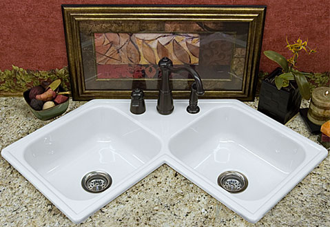 black granite corner sink photo - 1
