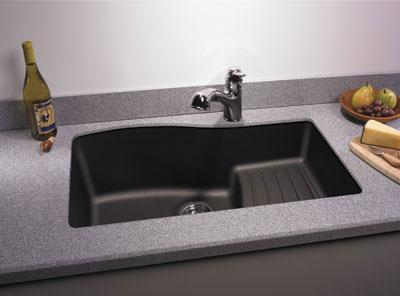 black granite corner sink photo - 5