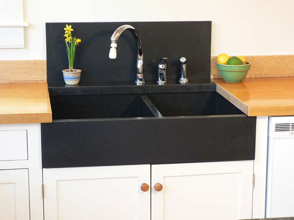 black granite corner sink photo - 6