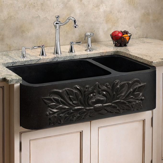 black granite farmhouse sink photo - 1