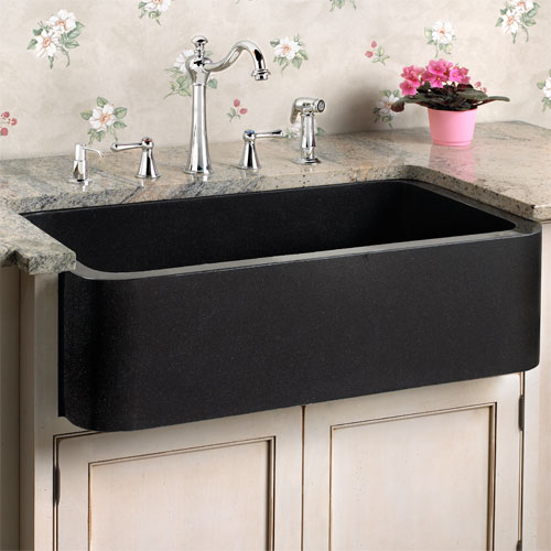black granite farmhouse sink photo - 2