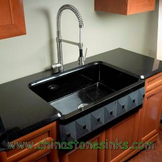 black granite farmhouse sink photo - 3