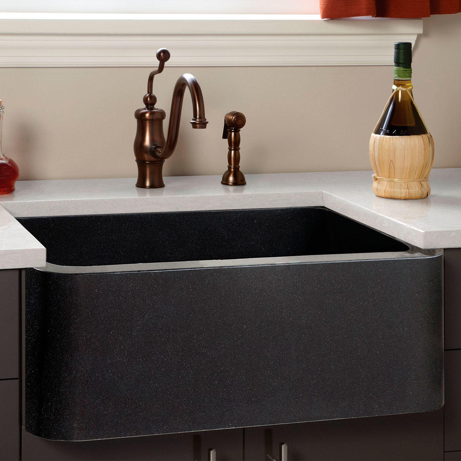 black granite farmhouse sink photo - 4