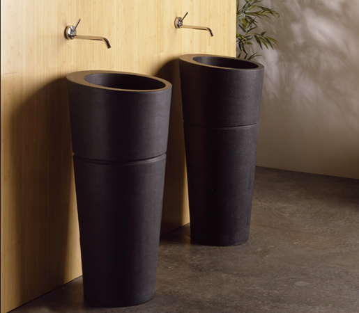 black granite pedestal sink photo - 1