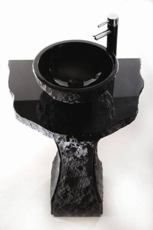 black granite pedestal sink photo - 4