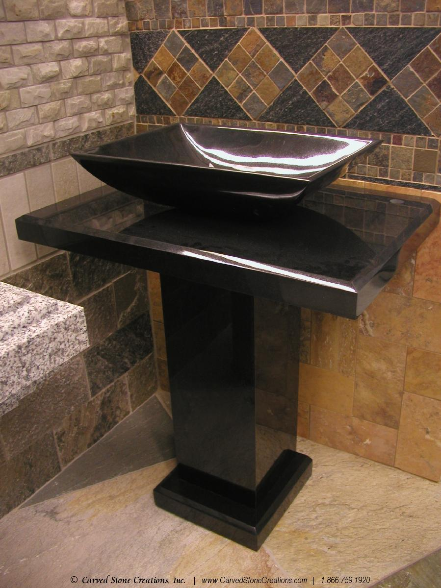 black granite pedestal sink photo - 5