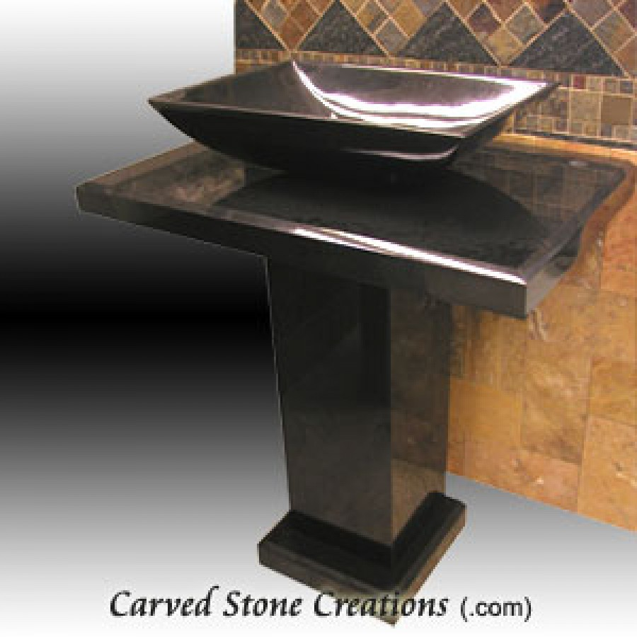 black granite pedestal sink photo - 6