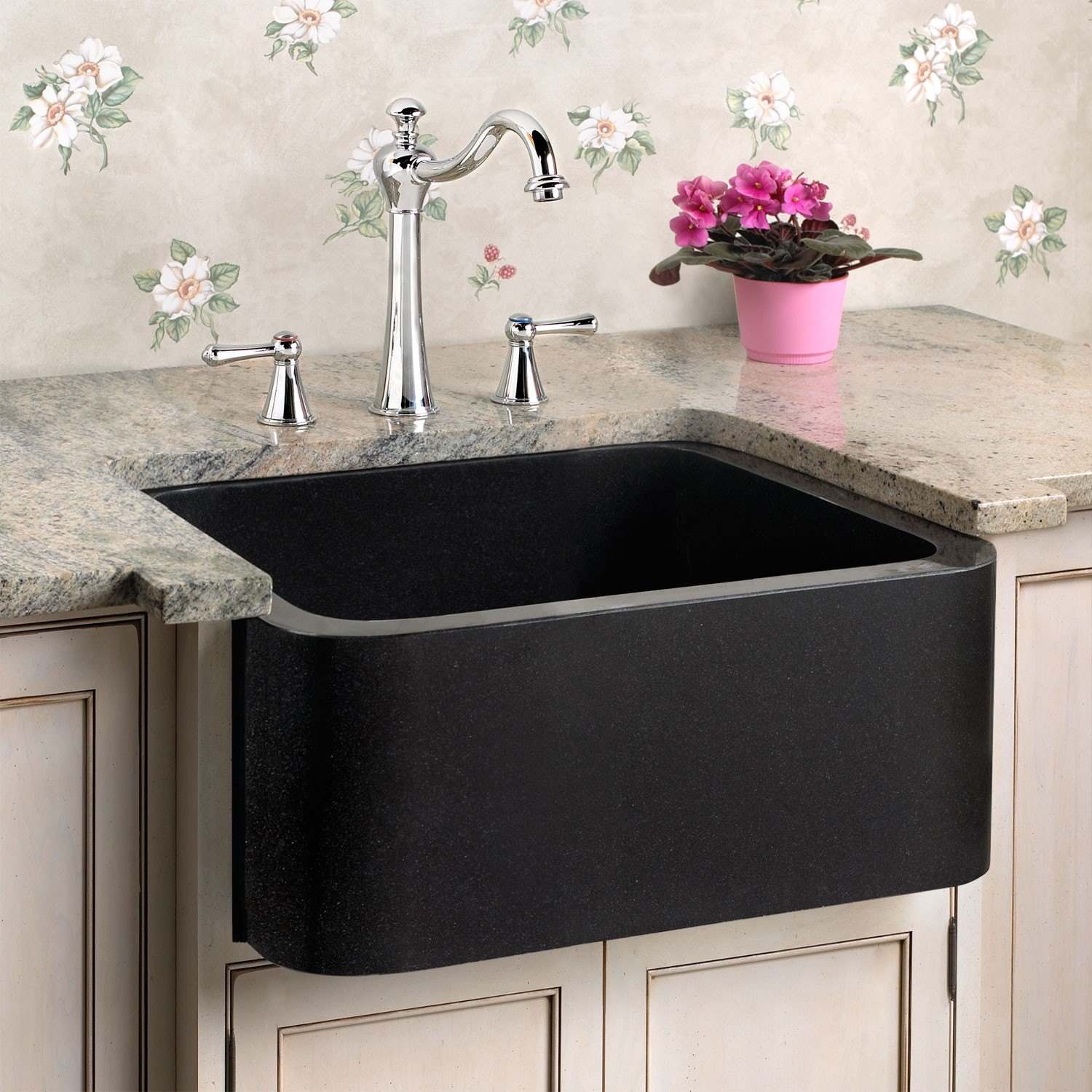 black granite prep sink photo - 1