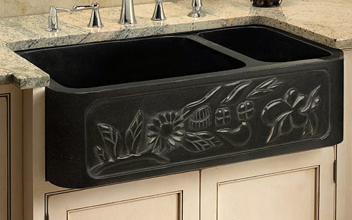 black granite prep sink photo - 4