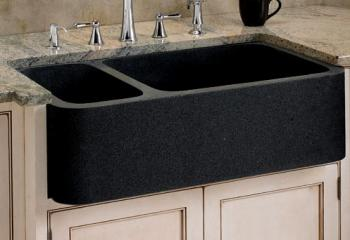 black granite prep sink photo - 6