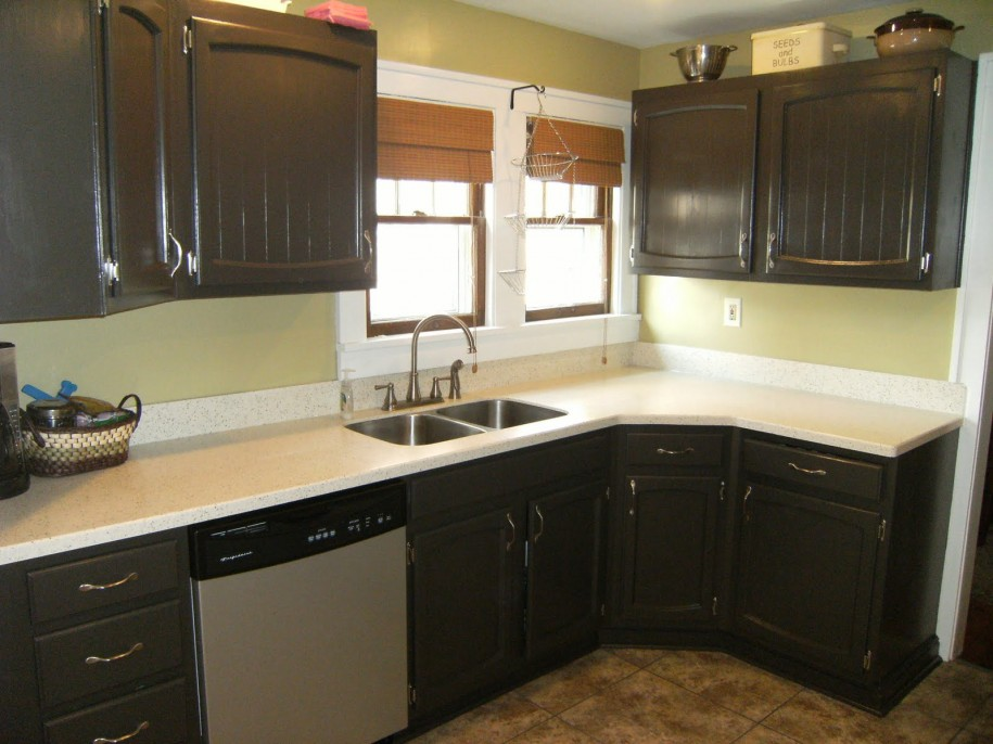 black kitchen cabinets and green walls photo - 5