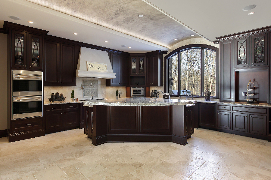 kitchen cabinets and flooring kitchen cabinets and flooring hardwoods with matching hues and different grains create an interesting counterpoint - Kitchen Designs Dark Cabinets