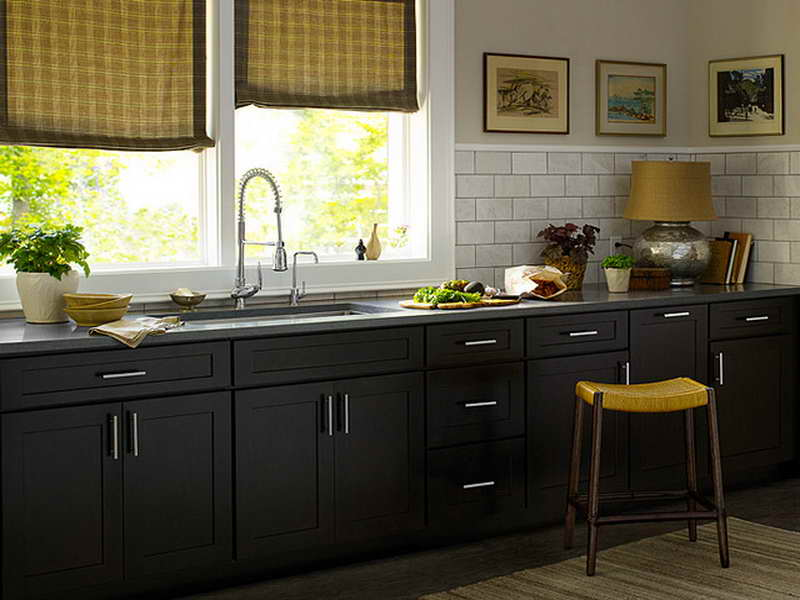 black kitchen cabinets in small kitchen photo - 2