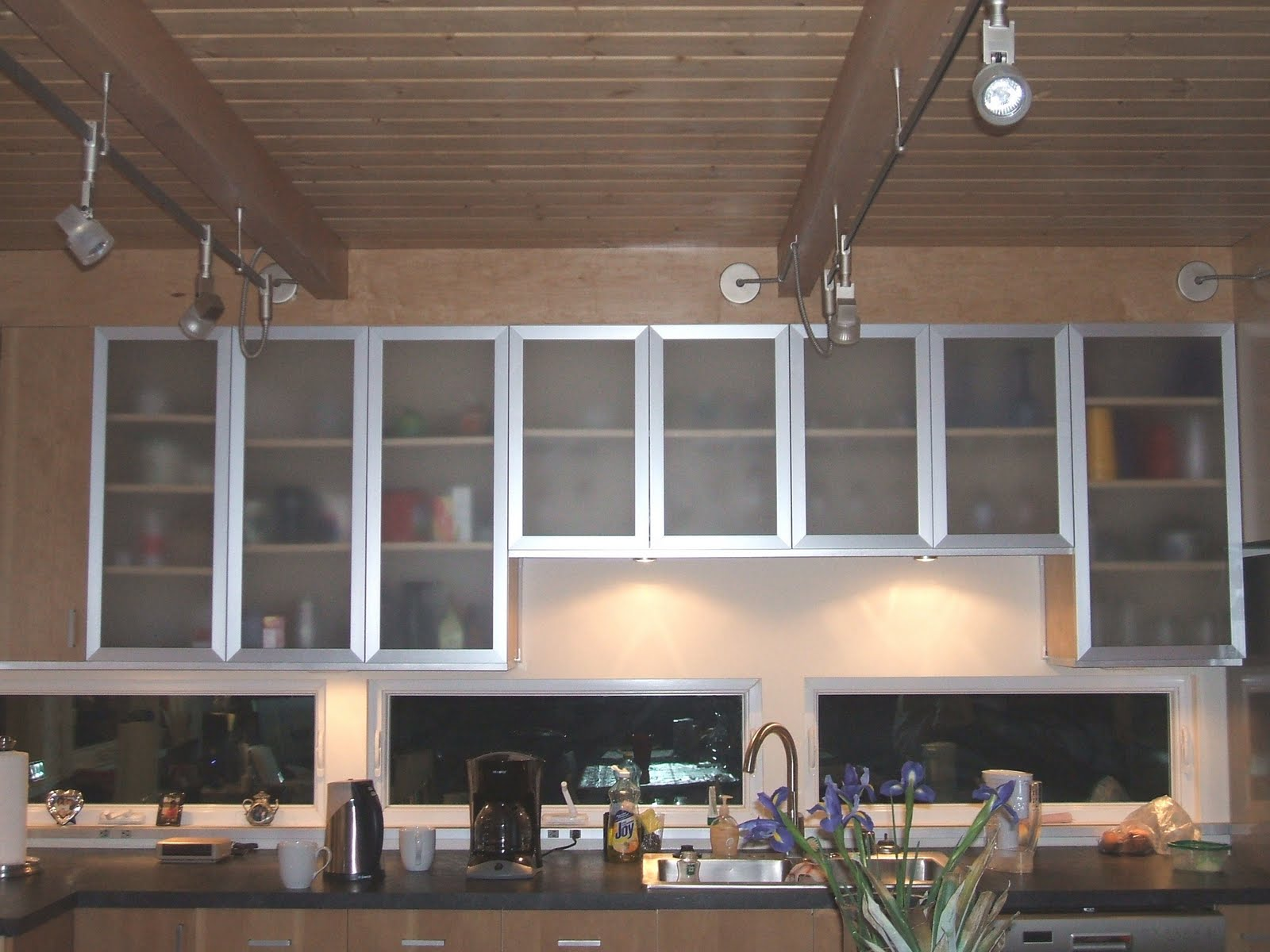 black kitchen cabinets with glass photo - 4