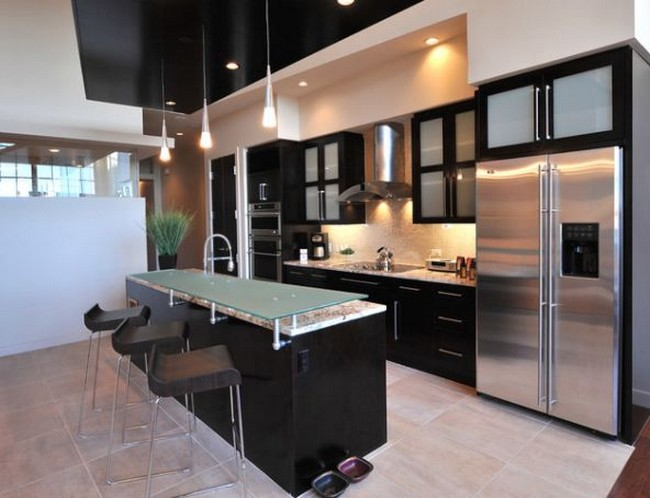 black kitchen cabinets with glass photo - 5