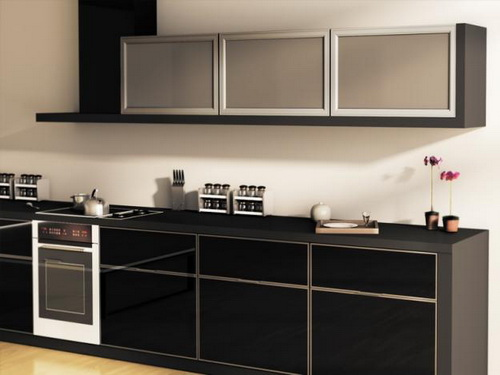 black kitchen cabinets with glass photo - 6