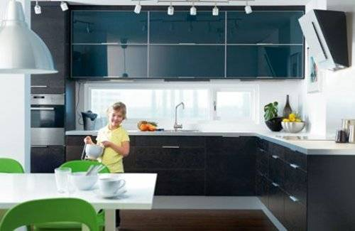 black kitchen cabinets with glass inserts photo - 1