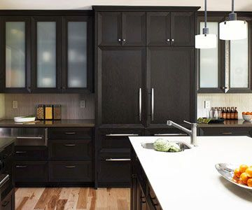 black kitchen cabinets with glass inserts photo - 2