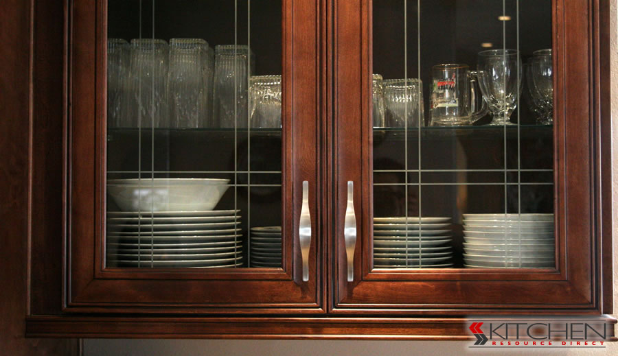 black kitchen cabinets with glass inserts photo - 3