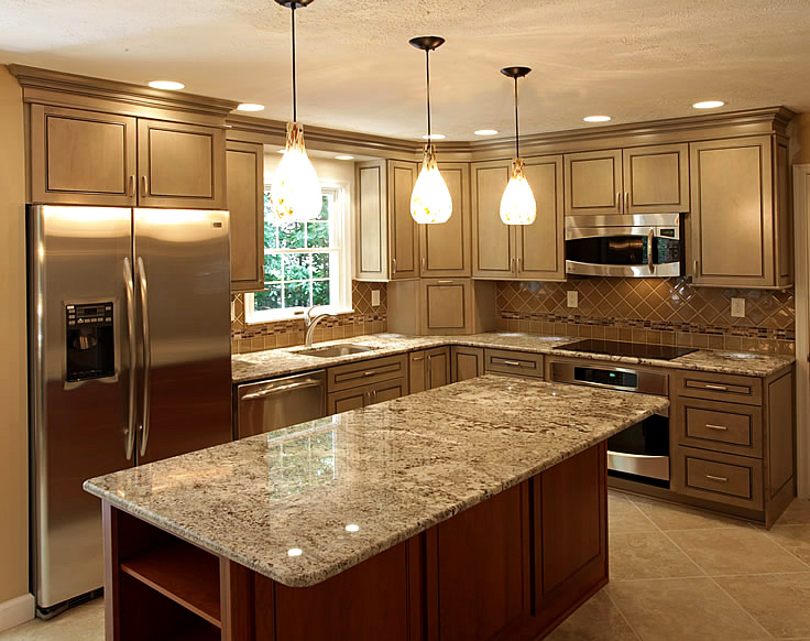 black kitchen cabinets with light countertops photo - 1