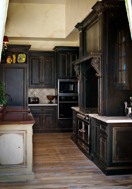 black kitchen cabinets with light countertops photo - 2