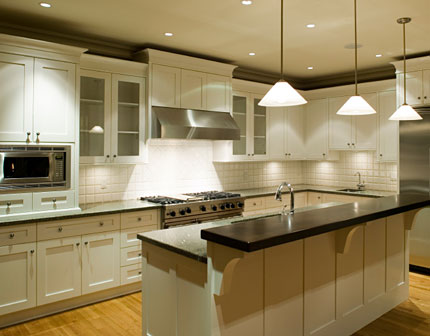 black kitchen cabinets with light countertops photo - 4