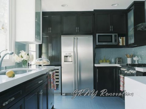 black kitchen cabinets with light countertops photo - 6