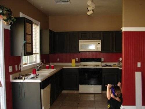 Black kitchen cabinets with red walls   Interior & Exterior Doors