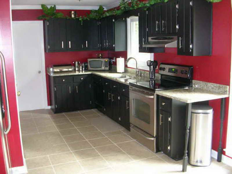 Black Kitchen Cabinets With Red Walls Photo   2
