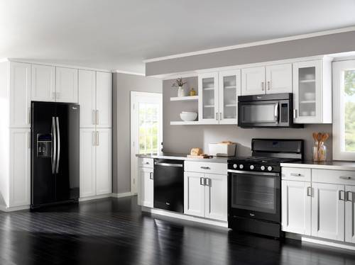 black kitchen cabinets with white appliances photo - 4