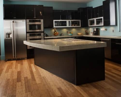 black kitchen cabinets wood floors photo - 2