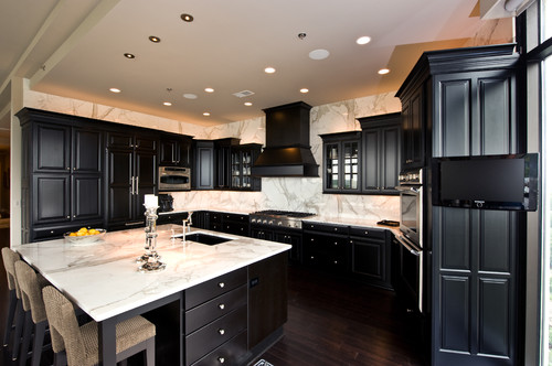 black kitchen cabinets wood floors photo - 4