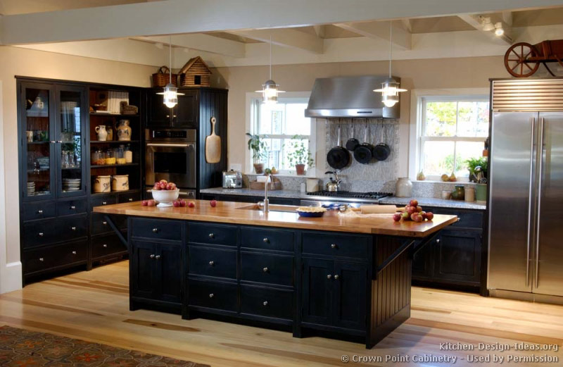 black kitchen cabinets wood floors photo - 5